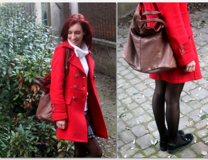 TARTAN SKIRT AND RED COAT